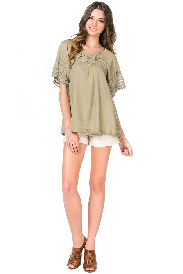 Woven Short Sleeve Top with Lace Trim