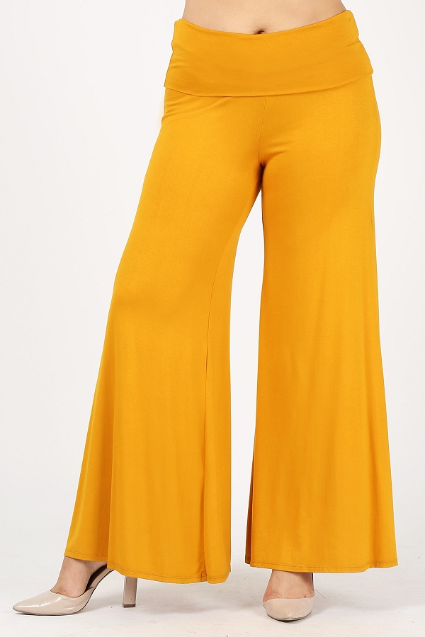 Plus Size Knit Fold-Over High Waist Wide Leg Palazzo Pants