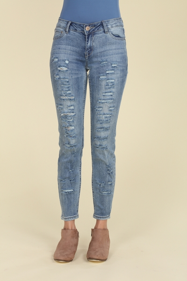 Mid Rise Distressed Skinny Cotton Denim Jeans