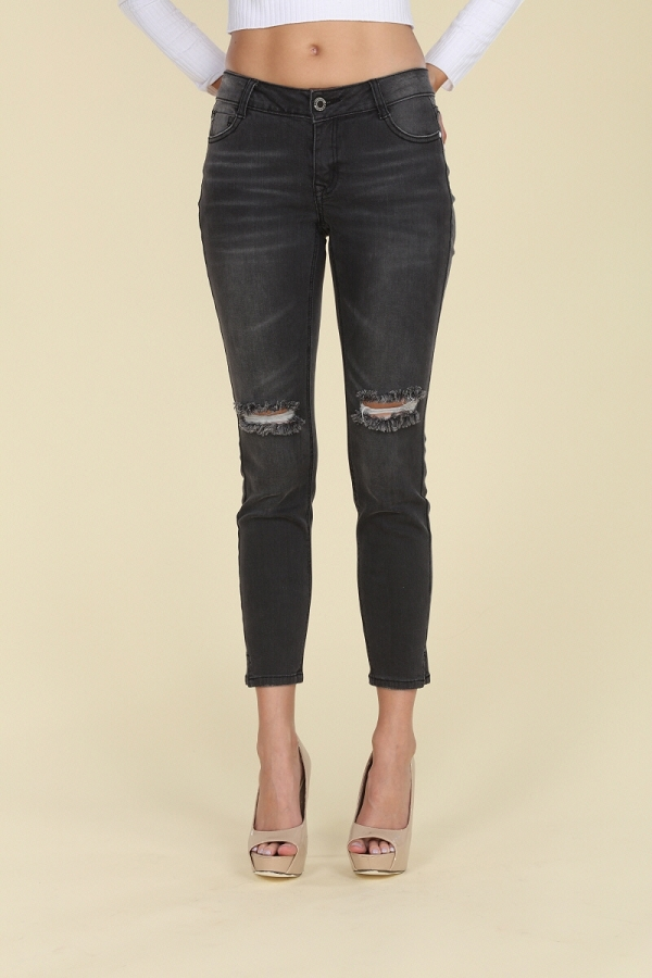 Mid Rise Ripped Dark Grey Cotton Denim Jeans