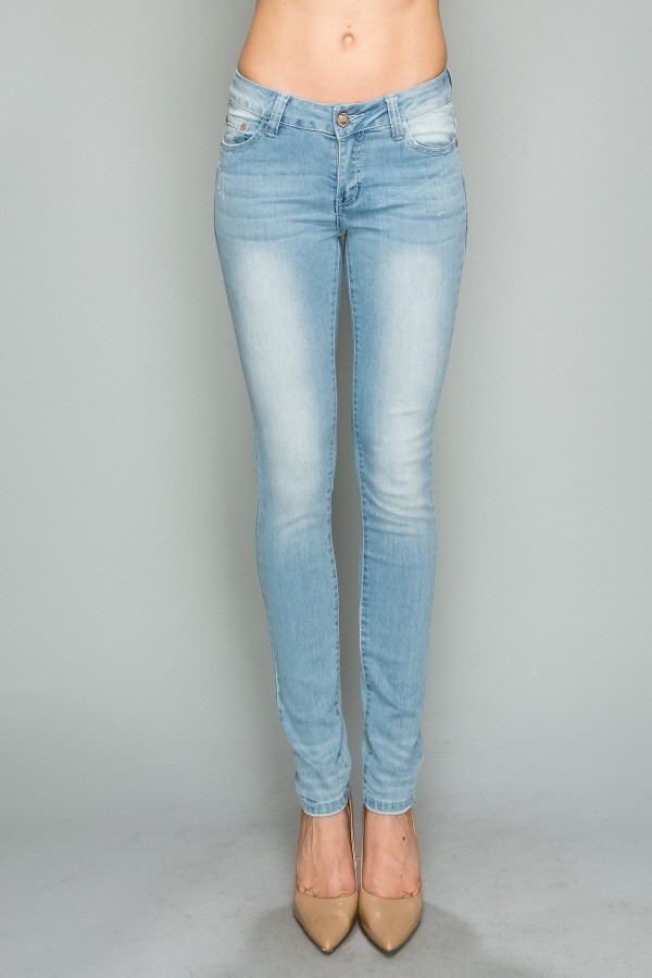 Mid Rise Solid Stretch Skinny Cotton Denim Jeans