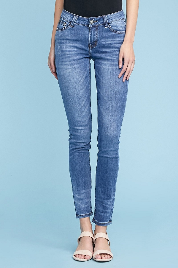 Blue Mid Rise Ripped Stretch Skinny Denim Cotton Jeans