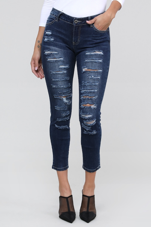 Mid Rise Distressed Stretch Skinny Cotton Denim Jeans