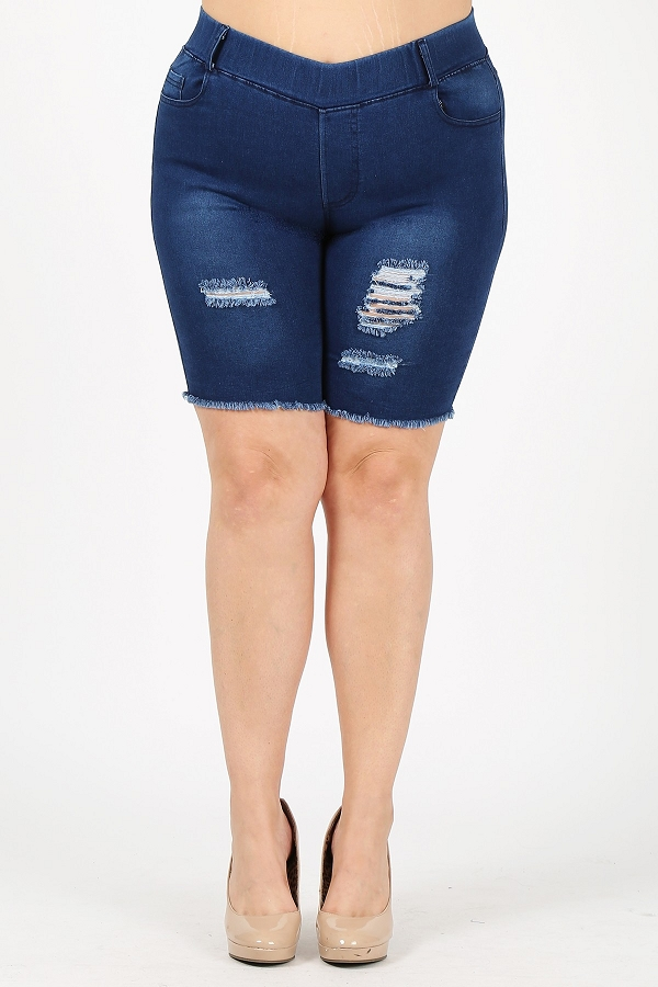 PLUS SIZE PULL ON SUPER STRETCH DISTRESSED BERMUDAS SHORT