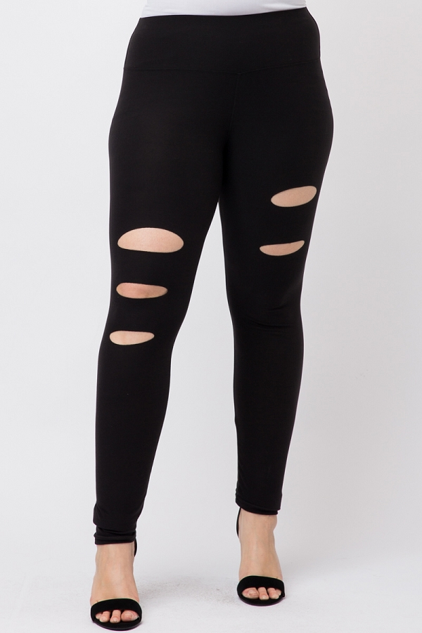 Plus size high waist ripped leggings