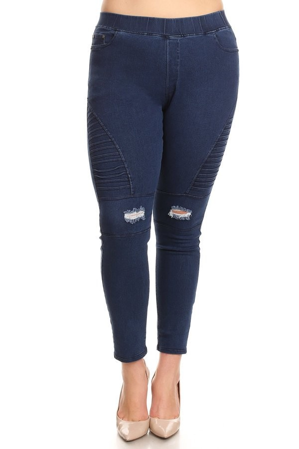 PLUS SIZE HIGH WAIST DISTRESSED MOTO JEGGINGS