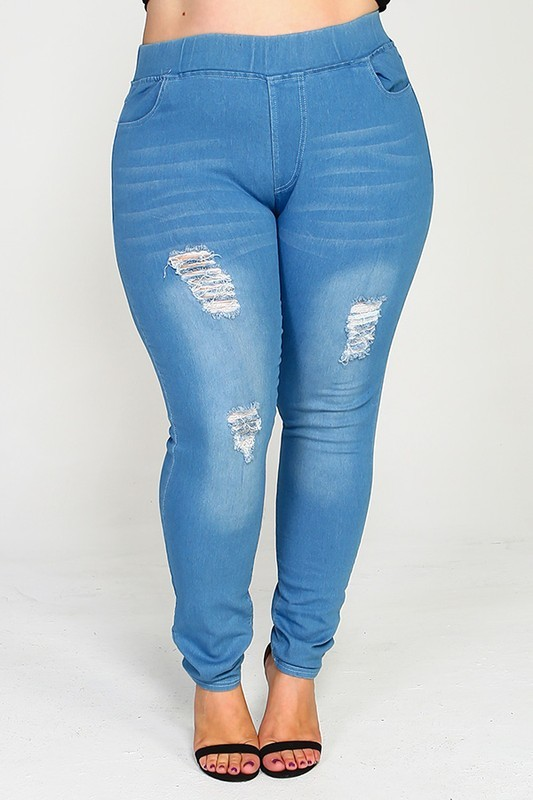 PLUS SIZE HIGH WAIST WASHED DISTRESSED LIGHT BLUE SKINNY JEGGINGS