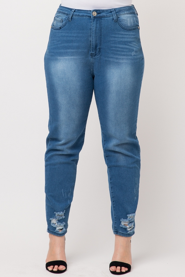 Plus Size High Waist Distressed Ankle Skinny Jeans
