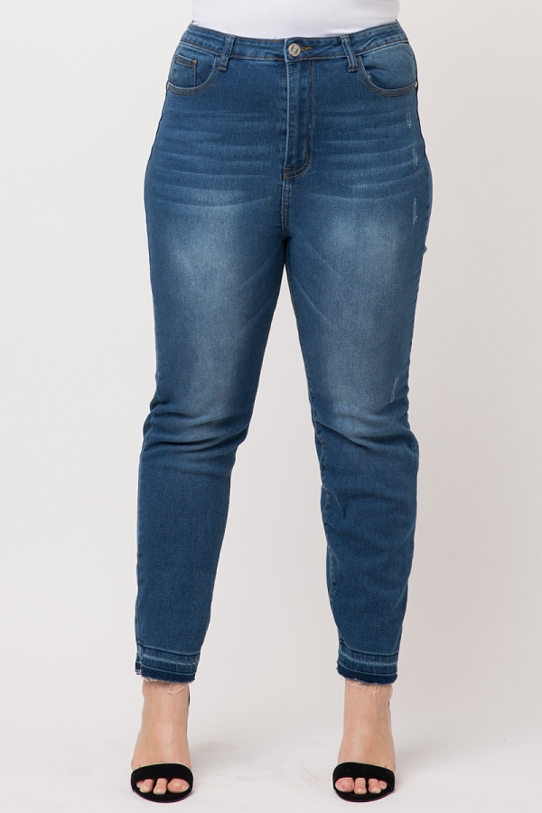 Plus Size High Waist Solid Skinny Jeans