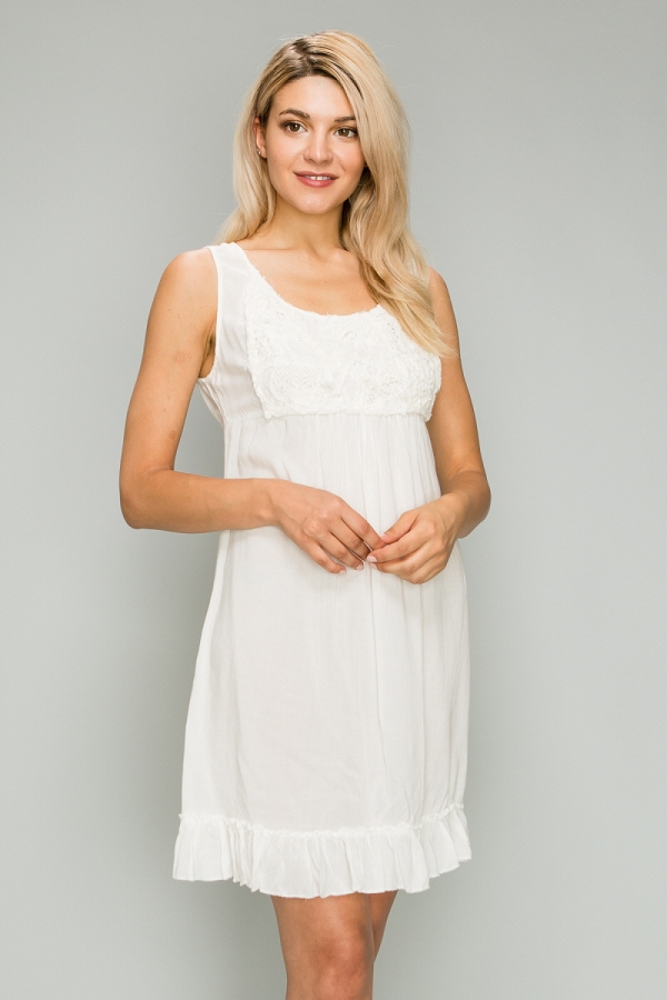 Woven A-Line Lace Front Ruffled Bottom Sleeveless Dress