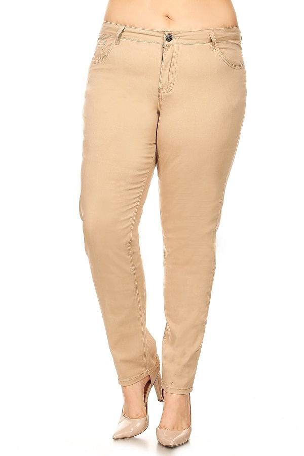 Plus Size Solid Colored Twill Cotton Stretch Pants