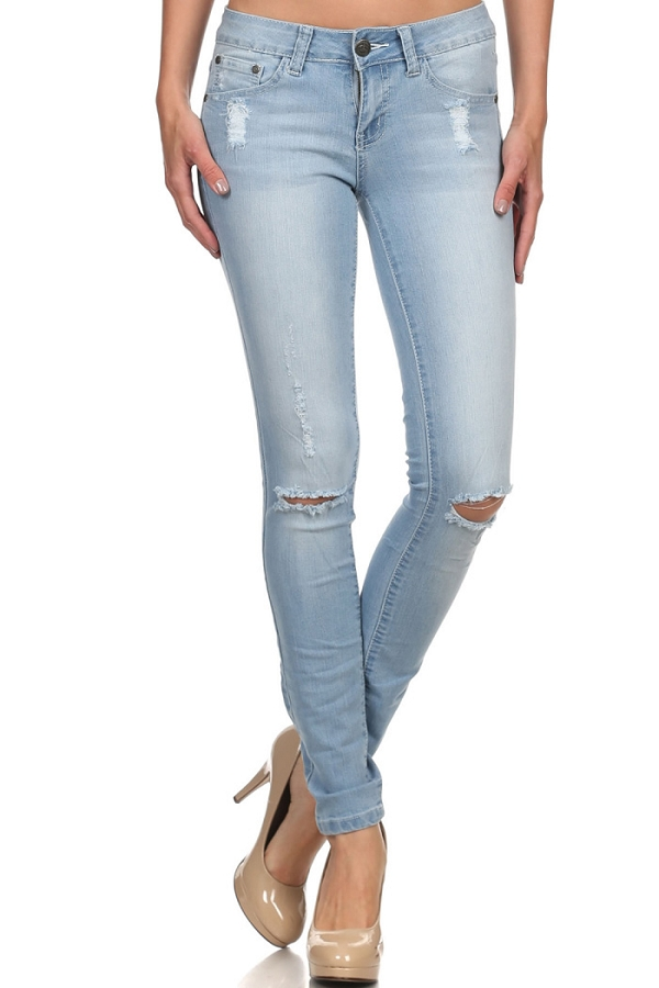 DISTRESS SKINNY COTTON DENIM JEANS