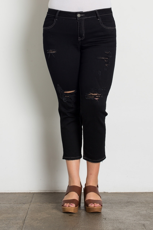 Plus Size Mid Rise Ripped Stretch Skinny Jeans