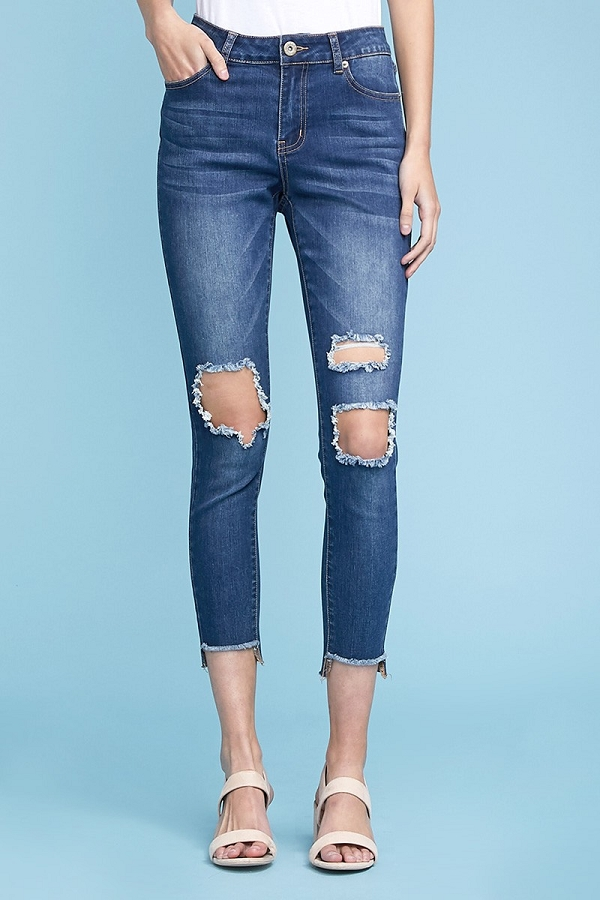 High Waist Ripped Skinny Cotton Denim Jeans