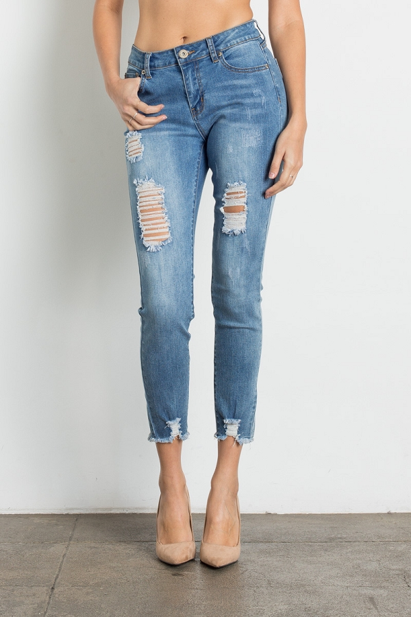Urban Chic High Waist Ripped Skinny Jeans