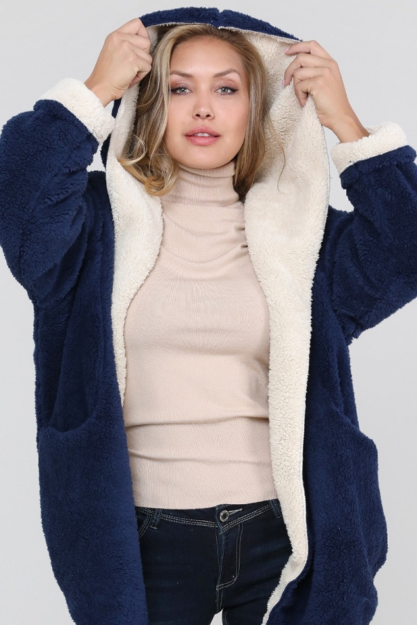 Reversible Soft Sherpa Teddy Bear Hooded Sweater Jacket