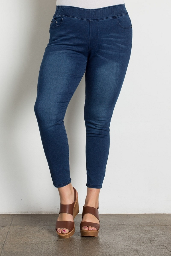 Plus Size High Waist Solid Wash Jeggings