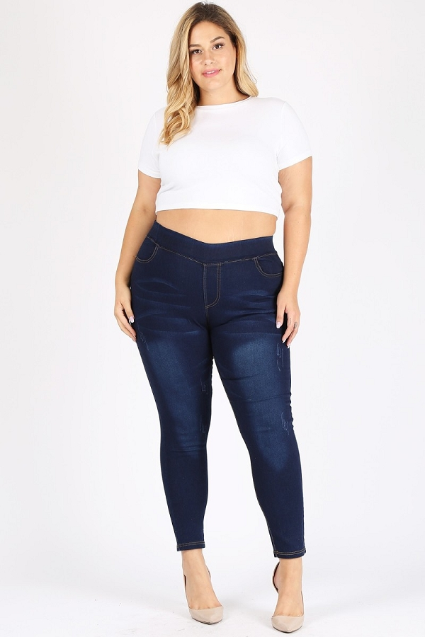 Plus Size High Waist Stretch Denim Jeggings Pants