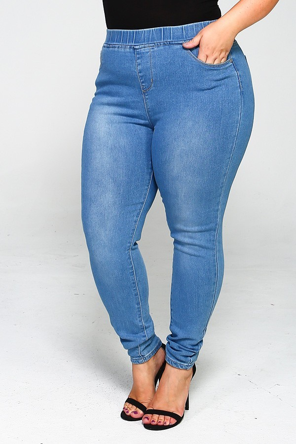 Plus Size High Waist Solid Denim Jeggings