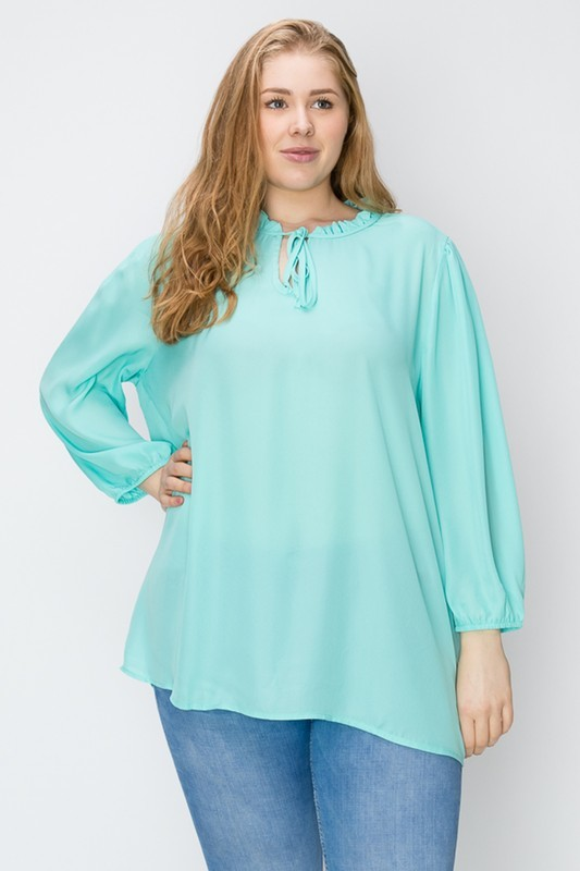Plus Size Solid Woven Keyhole Neckline Tunic Blouse Top
