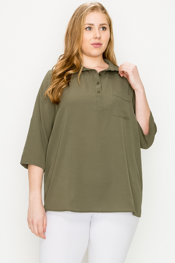 PLUS SIZE SOLID COLLAR THREE QUARTER ROLL UP SLEEVES WOVEN TUNIC SHIRT