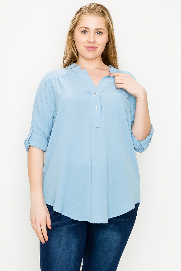 Plus Size Solid Button V Neck Rolled-Up Woven Tunic Top