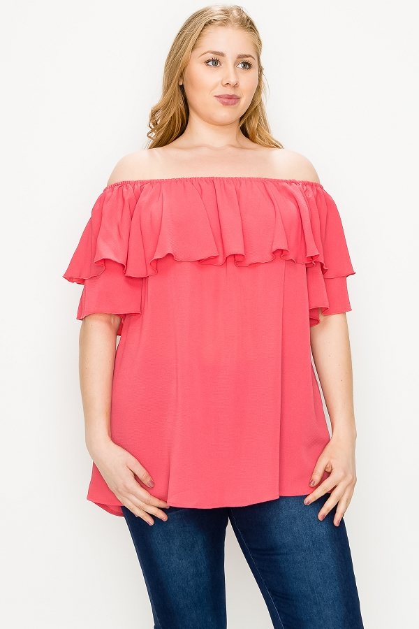 PLUS SIZE RUFFLED OFF SHOULDER WOVEN TUNIC TOP