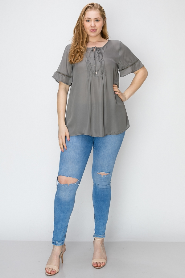Plus Size Woven Pintuck Hi-Low Blouse Tunic Top